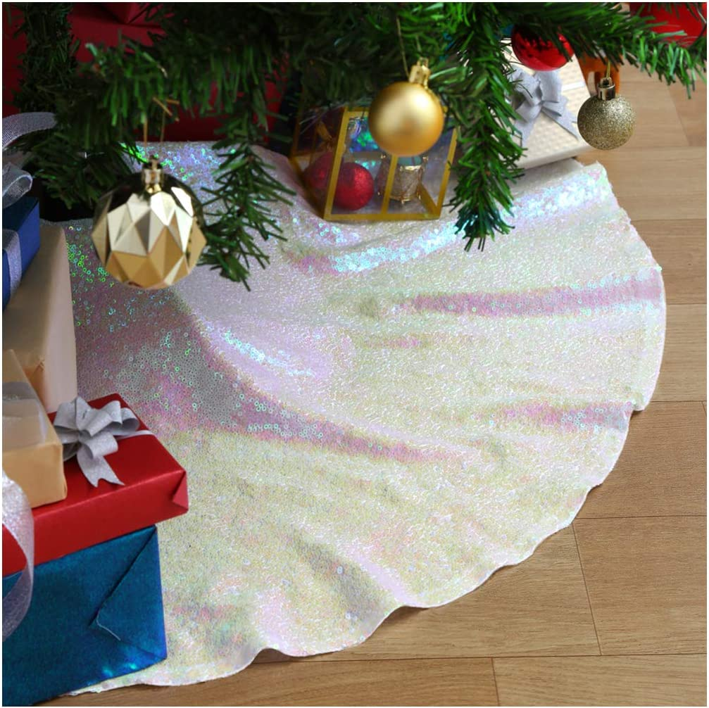 Glitter Christmas Tree Skirt Iridescent White 36 Inch Round Embroidery Sequin Tree Skirt New Year Indoor Party Decorations