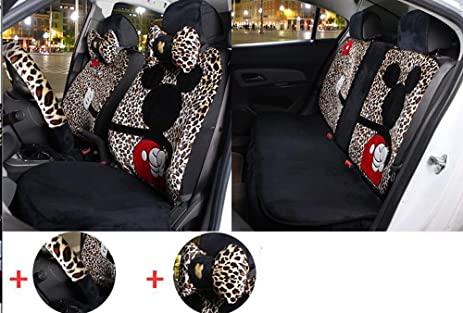 12pc Popular Set Of Leopard Mickey Seat Covers Front Back Plush Seating Universal Full