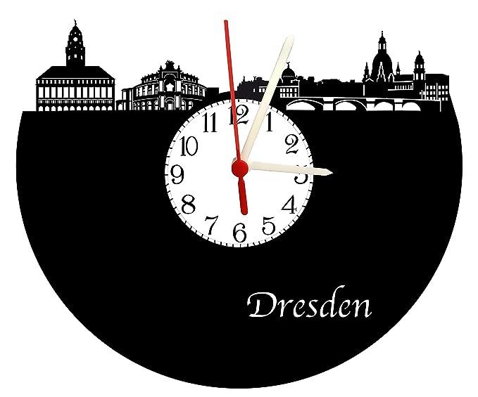 Schall placa Reloj con mecanismo de cuarzo, regalo único., fabricado en Alemania, Dresden Skyline con esfera: Amazon.es: Relojes