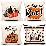 Fall Halloween Pumpkin Throw Pillow Covers 18 x 18 Set of 4 Trick or Treat Farmhouse Decorations Cushion Case for Sofa…