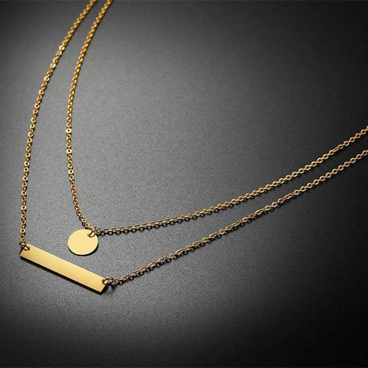 YINSHIFU Custom Name Bar Necklace Engraved Personalized Pendant Necklace Plated with 18K Gold Rose Gold Silver