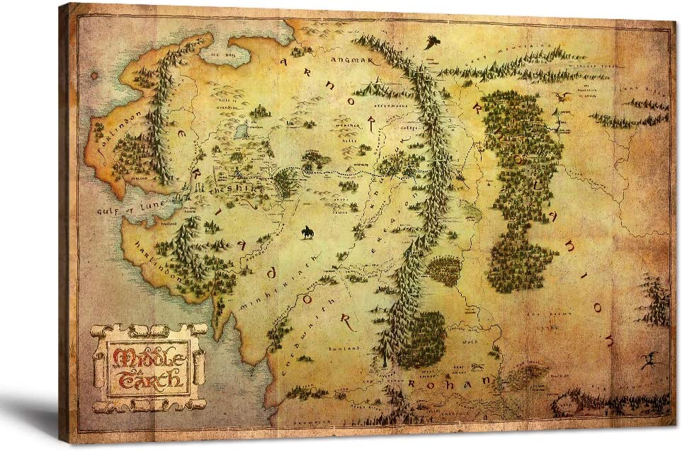 "Map of Middle Earth Canvas Wall Art Picture Lord of the Rings Map Painting Vintage The Hobbit Map Posters Prints Artwork for Living Room Bedroom Office Home Wall Decor Framed Ready to Hang (24""Hx36""W)"