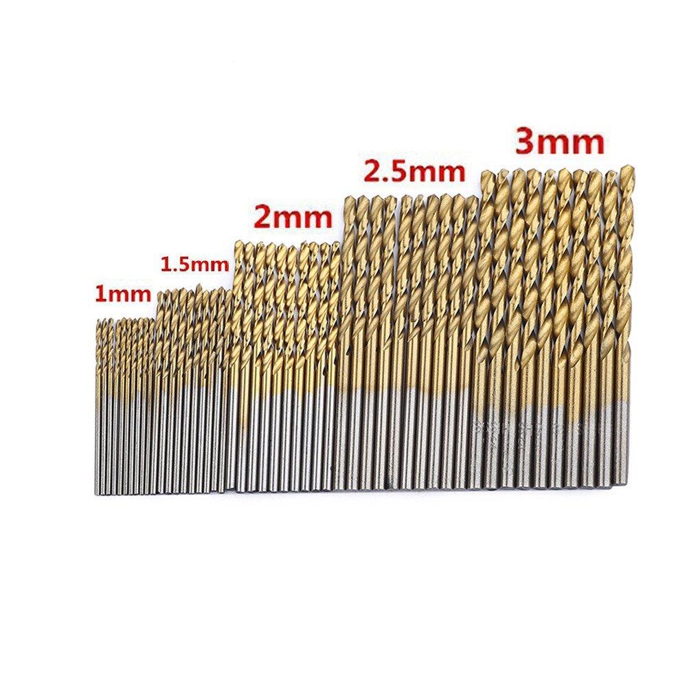 SIRIGOGO Herramientas de alimentación 1/1.5/2/2.5/3 mm 50 Piezas Juego de Brocas de Acero de Alta Velocidad HSS con Revestimiento de Titanio