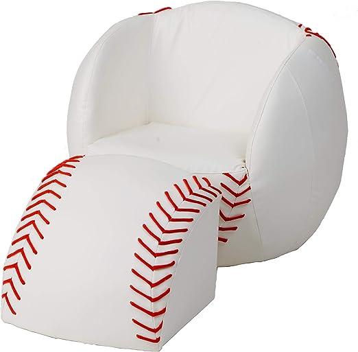 Amazon.com: Regalo Mark silla y otomana, Madera, Baseball ...