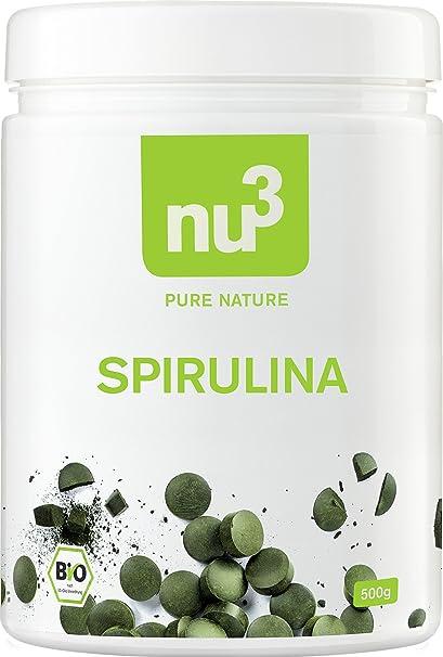 nu3 - Espirulina orgánica | 500g de comprimidos de algas | Enriquecidas con pro-vitamina