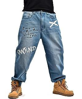 Pantalons en Jean pour Hommes Hip Hop Style Jeans De Danse Classique Retro  Loose Fashion Pantalons 86da7084756a