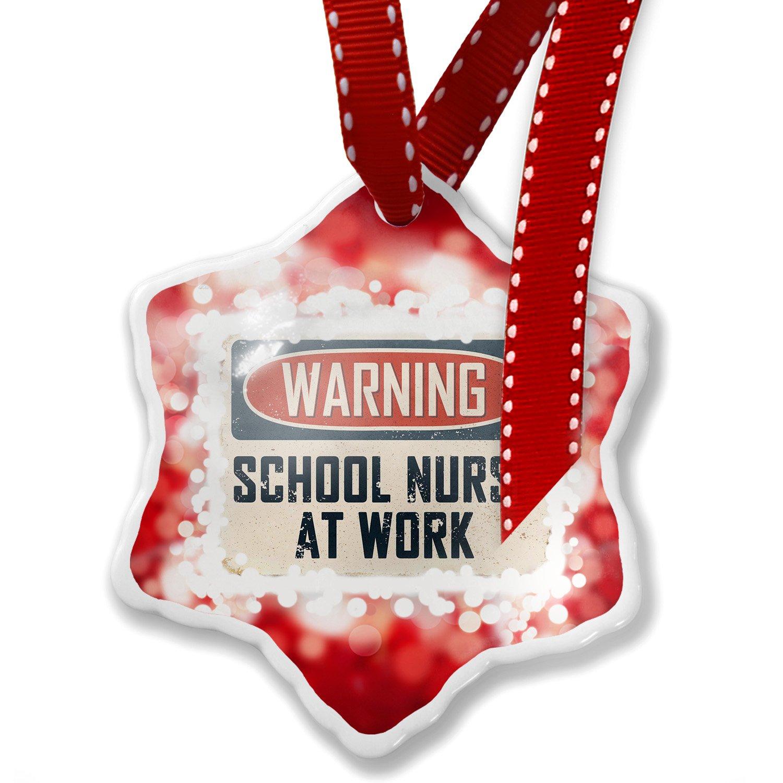 Christmas Ornament Warning School Nurse At Work Vintage Fun Job Sign, red - Neonblond