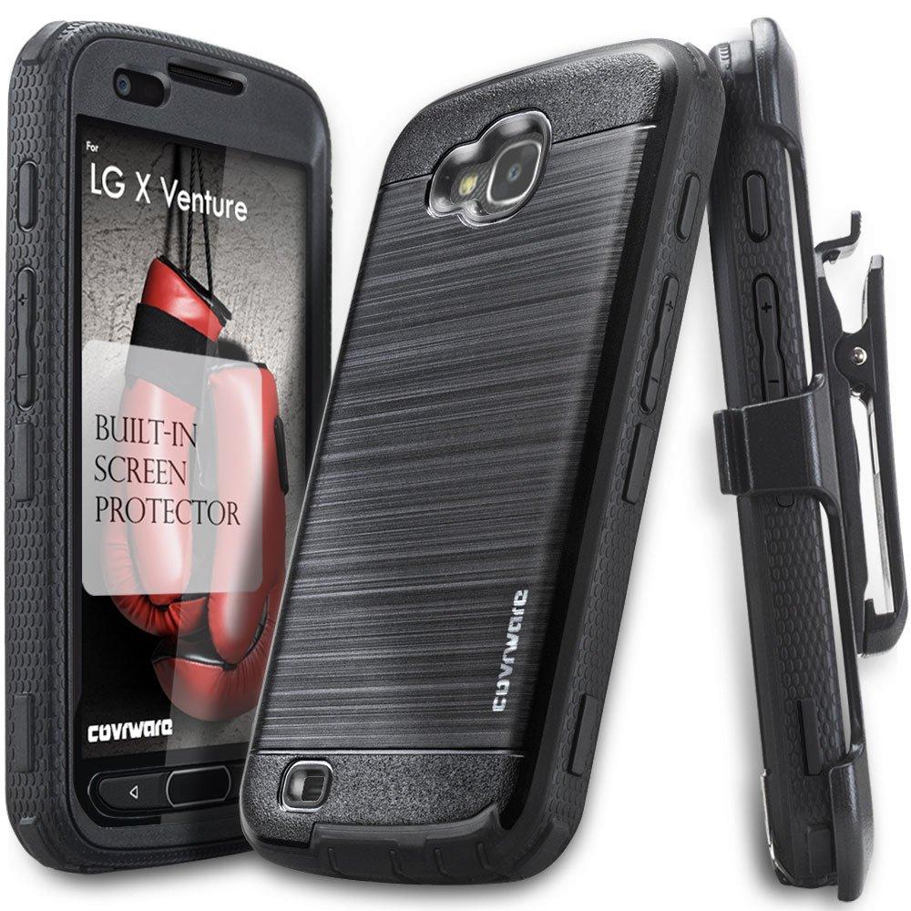 LG X Venture Case, LG X Calibur Case, COVRWARE [Iron Tank] Built-in [Screen Protector] Heavy Duty Full-Body Holster Armor [Brushed Metal Texture] Case [Belt Clip][Kickstand], Black