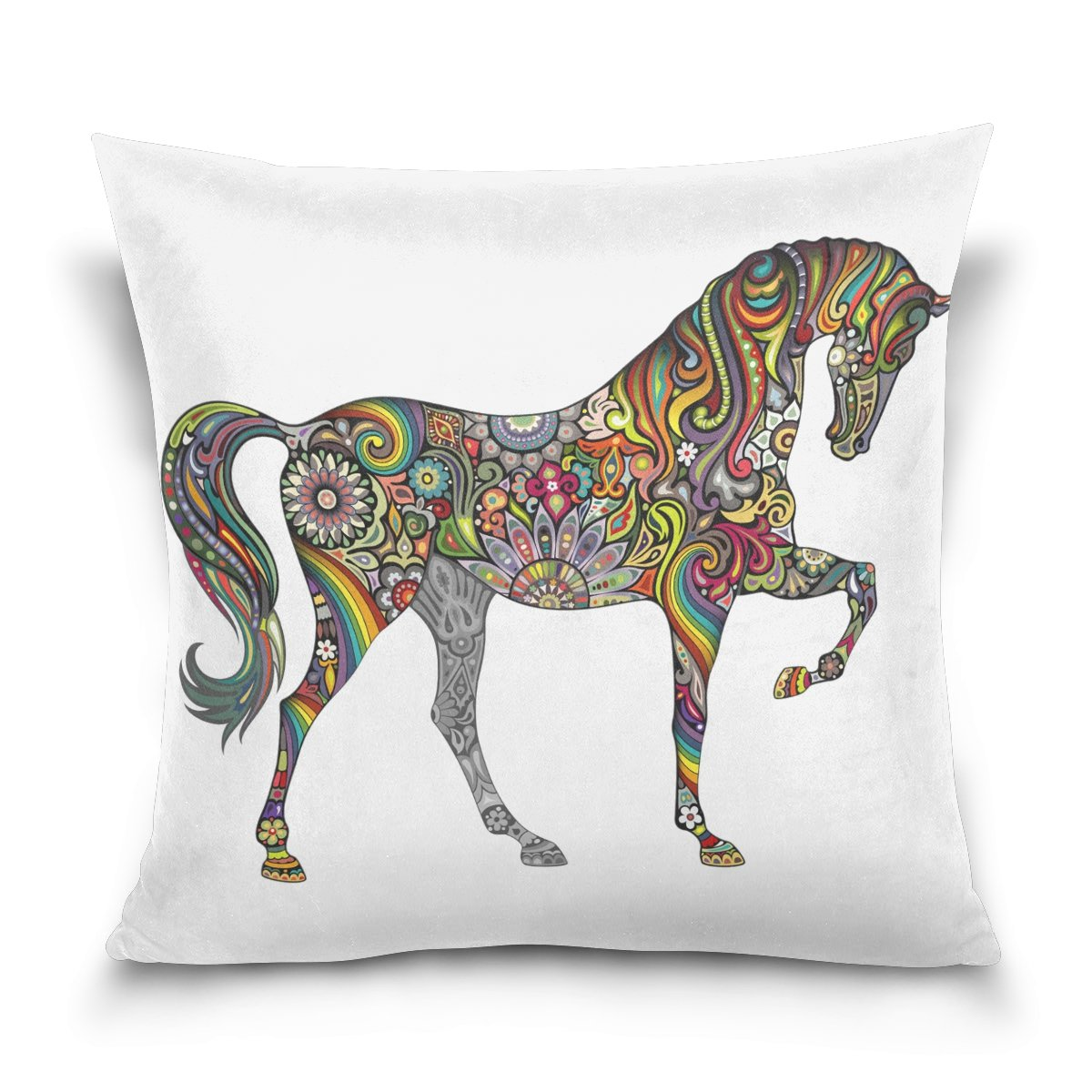 Hokkien Blue Viper Animal Theme Colorful Painted Cartoon Horse Decorative Square Throw Pillow Case Cushion Cover for Sofa Bedroom Car Double-Sided Design 20 x 20 inch