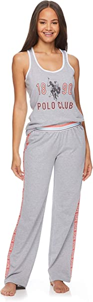 U.S. Polo Assn. Womens Racerback Tank Top and Lounge Pajama Pants Sleepwear Set