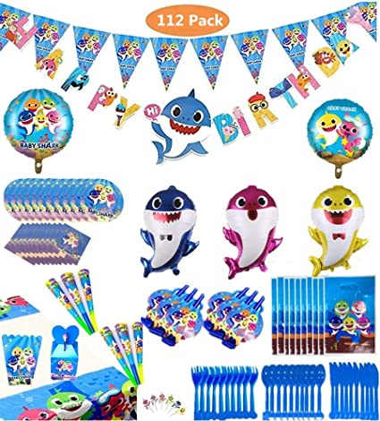 Amazon.com: Borang Baby Shark Party Supplies Set – 112 ...