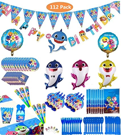 Borang Baby Shark Party Supplies Set - 112 Pcs Baby Shark Themed Birthday Decorations. Flatware, Spoons, Fork, Knife, Plates,Table Covers, Banner, ...