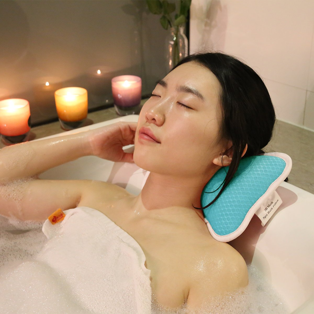 Bleu Remplissage de 3D Maille pour Baignade Confortable Design Ergonomique Oreiller de Baignoire Antid/érapant avec Ventouses Petit Cou Support Oreiller de Bain de Relaxation