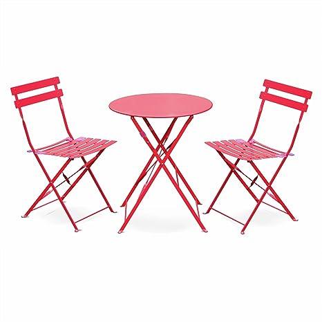 Salon de Jardin bistrot Pliable - Emilia Rond Rouge Framboise- Table ...