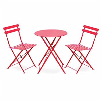 Salon de Jardin bistrot Pliable - Emilia Rond Rouge Framboise- Table ...