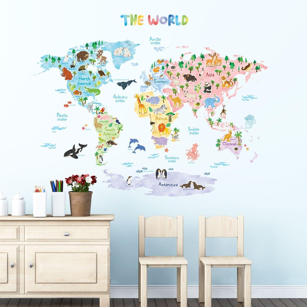 Extra Grand DECOWALL DLT-1616N Carte du monde Color/ée Autocollants Muraux Mural Stickers Chambre Enfants B/éb/é Garderie Salon Ver anglais