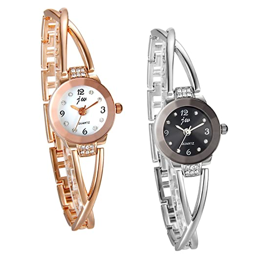 JewelryWe Relojes de Mujer Moda 2016, Reloj de Pulsera con Diamantes de Imitación Brillantes, Esfera Pequeña Delicada, Regalo Original para Mujer 2 Piezas: ...
