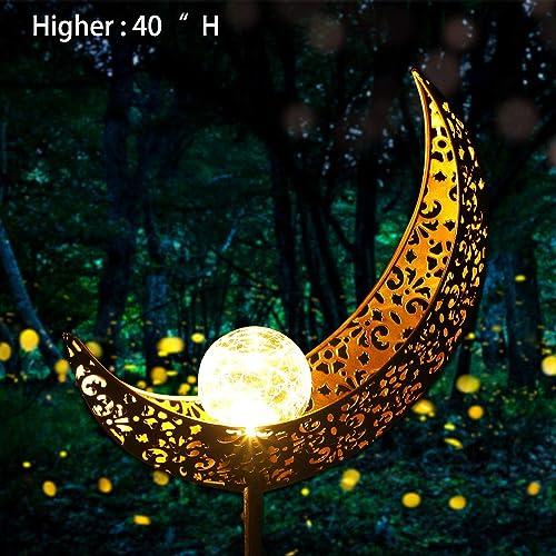 Garden Solar Light Outdoor Decorative – Moon Decor, Crackle Glass Ball Metal Garden Stake Light for Pathway, Lawn, Patio, Yard