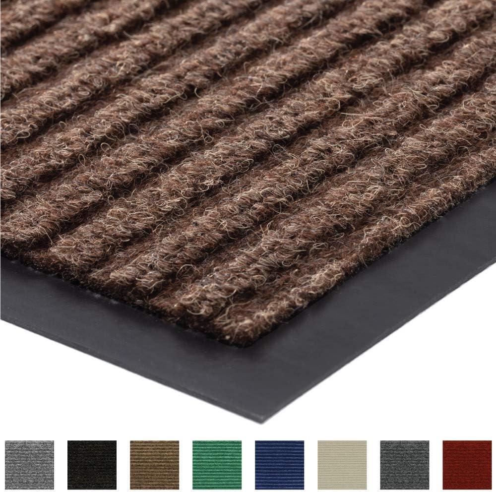 Gorilla Grip Original Low Profile Rubber Door Mat, 35x23, Heavy Duty, Durable Doormat for Indoor and Outdoor, Waterproof, Easy Clean, Home Rug Mats for Entry, Patio, High Traffic, Brown