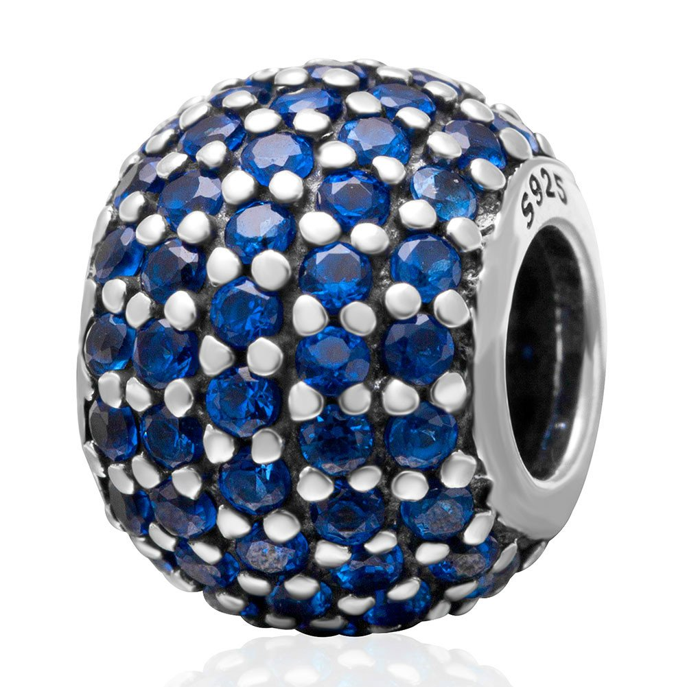 September Birthstone Sapphire Crystal Charm 925 Sterling Silver Bead Fits European Brand Charms
