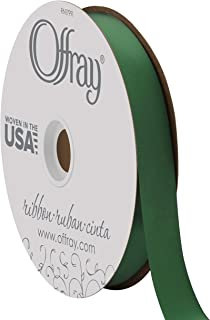 """product image for Berwick Offray 7/8"""" Wide Double Face Satin Ribbon, Forest Green, 100 Yards"""