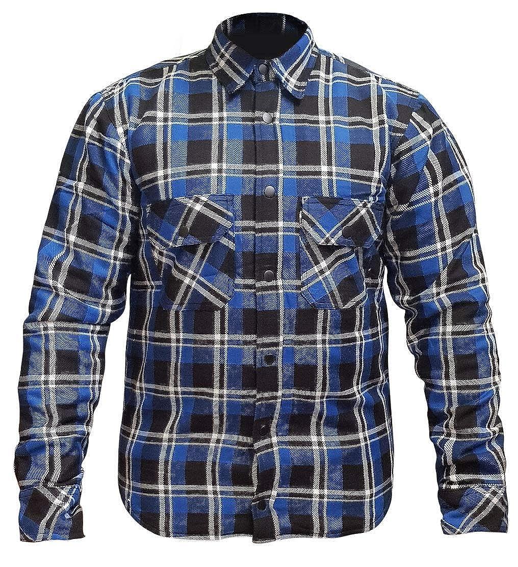 RKsports Motorcycle Lumberjack Kevlar Red Blue Shirt Men Ladies CE Armoured