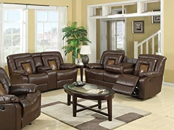 Roundhill Furniture Kmax 2 Toned Dual Reclining Sofa And Loveseat Set With  Drop Console