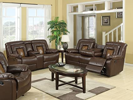 Charming Roundhill Furniture Kmax 2 Toned Dual Reclining Sofa And Loveseat Set With  Drop Console