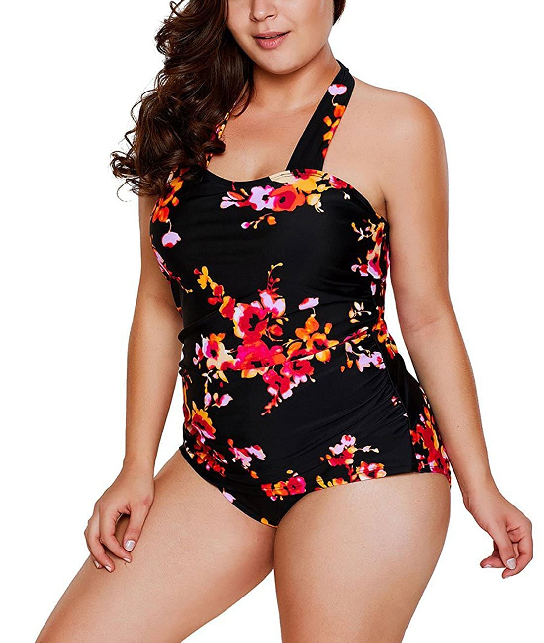 WoldGirls Women Lace Insert Ruched Slim Plus Size Monokini Swimsuit Bathing Suit