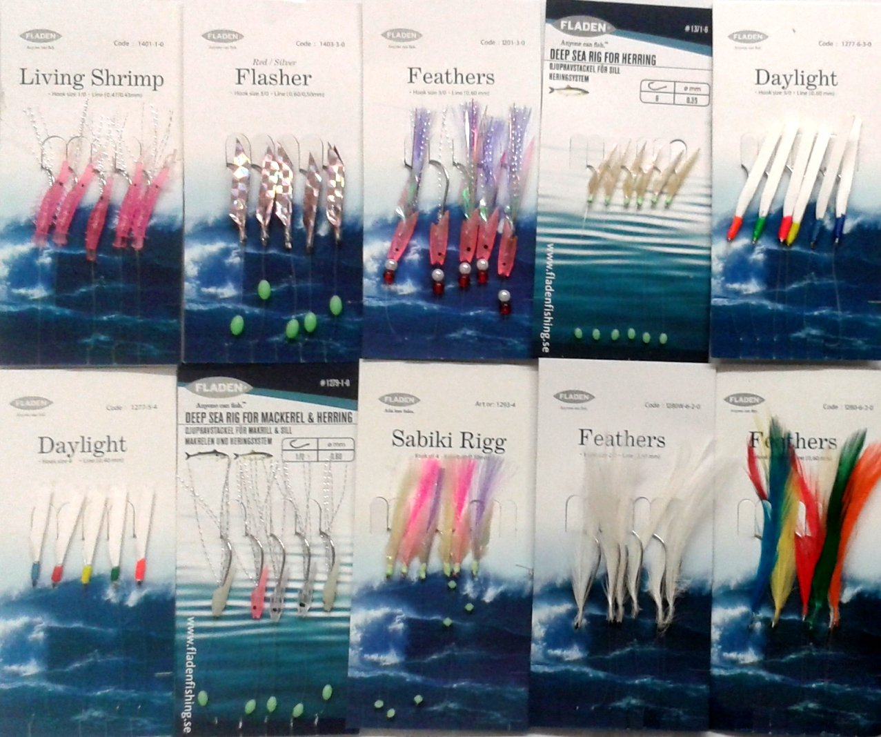10 Assorted Bait & Mackerel Rigs Inc. Feathers Daylight and Sabiki (with 2 Marauder Snap Swivwls) Fladen