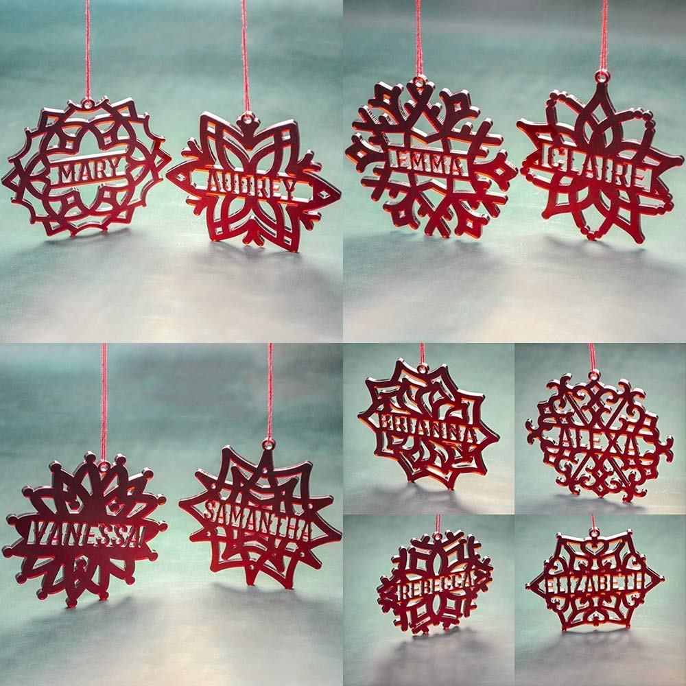 Custom Snowflake Ornament PERSONALIZED ACRYLIC SNOWFLAKE  Snowflake Christmas Tree Decorations Laser Cut Red Acrylic Snowflake