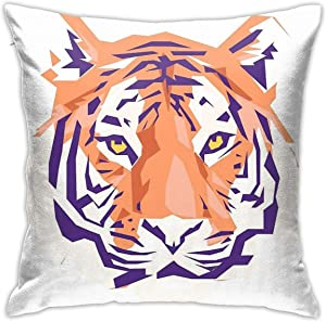ZHUHOO Geometric Clemson Tiger Bedroom Couch Sofa Square Pillow Case Home Decorative Throw Pillow Covers 18x18 Inch