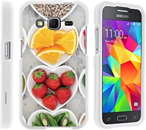 TurtleArmor | Compatible with Samsung Galaxy Core Prime Case | Prevail | Win 2 [Slim Duo] Hard Compact Lightweighting 2 Piece Cover Shell on White Food - Healthy Snacks