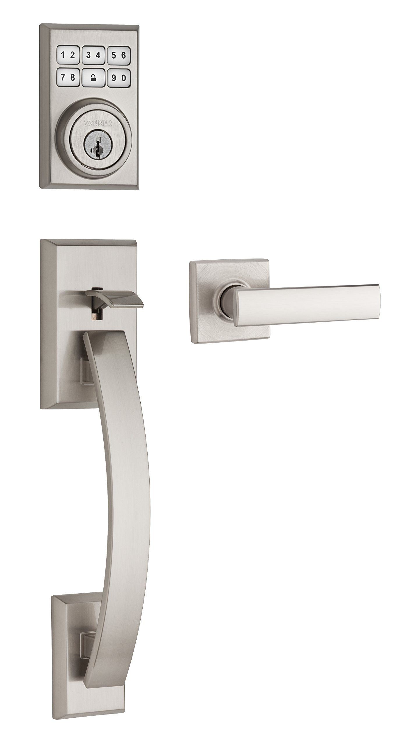 Weiser SmartCode 5 Electronic Door Handle Set Featuring SmartKey, Tavaris Keypad Door Lock and Vedani Lever, Satin Nickel (9GLA14900-002) product image