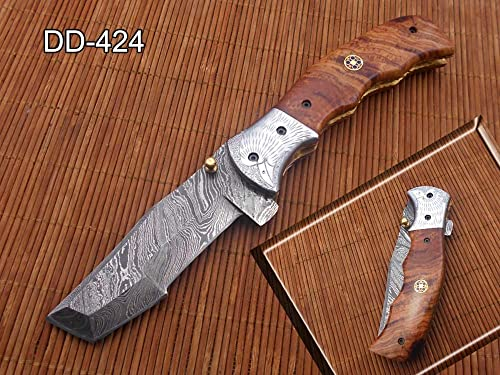 Folding Knife Tracker Blade Knife 8 , Hand Forged Damascus Steel, Engraved Bird on Steel Bolster, Equipped with Brass Liner Lock, Cow Hide Leather Sheath with Belt Loop Wood