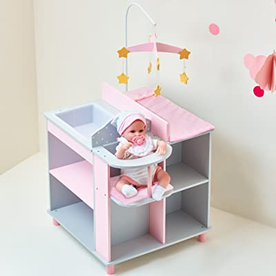 Olivia's Little World - Polka Dots Princess Baby Doll Changing Station, Baby Care Activity Center, Role Play Nursery Center with Storage for Dolls Accessories - Pink & Gray: Toys & Games