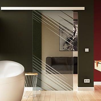 Q Levidor/® EasySlide-System komplett Laufschiene und Muschelgriffen f/ür Innenbereich/ ESG-Sicherheitsglas Made in Germany SoftClose Schiebet/ür aus Glas 900x2050 mm/ Quadrat-Design