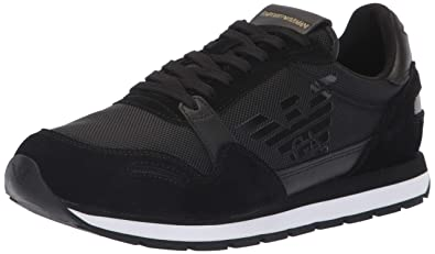 Emporio Armani Mens Lace Up Logo Fashion Sneaker Black, 12 Regular UK (13 US