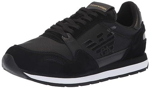d188d2ce95eb EMPORIO ARMANI Runner Hombre Zapatillas Negro  Amazon.es  Zapatos y  complementos