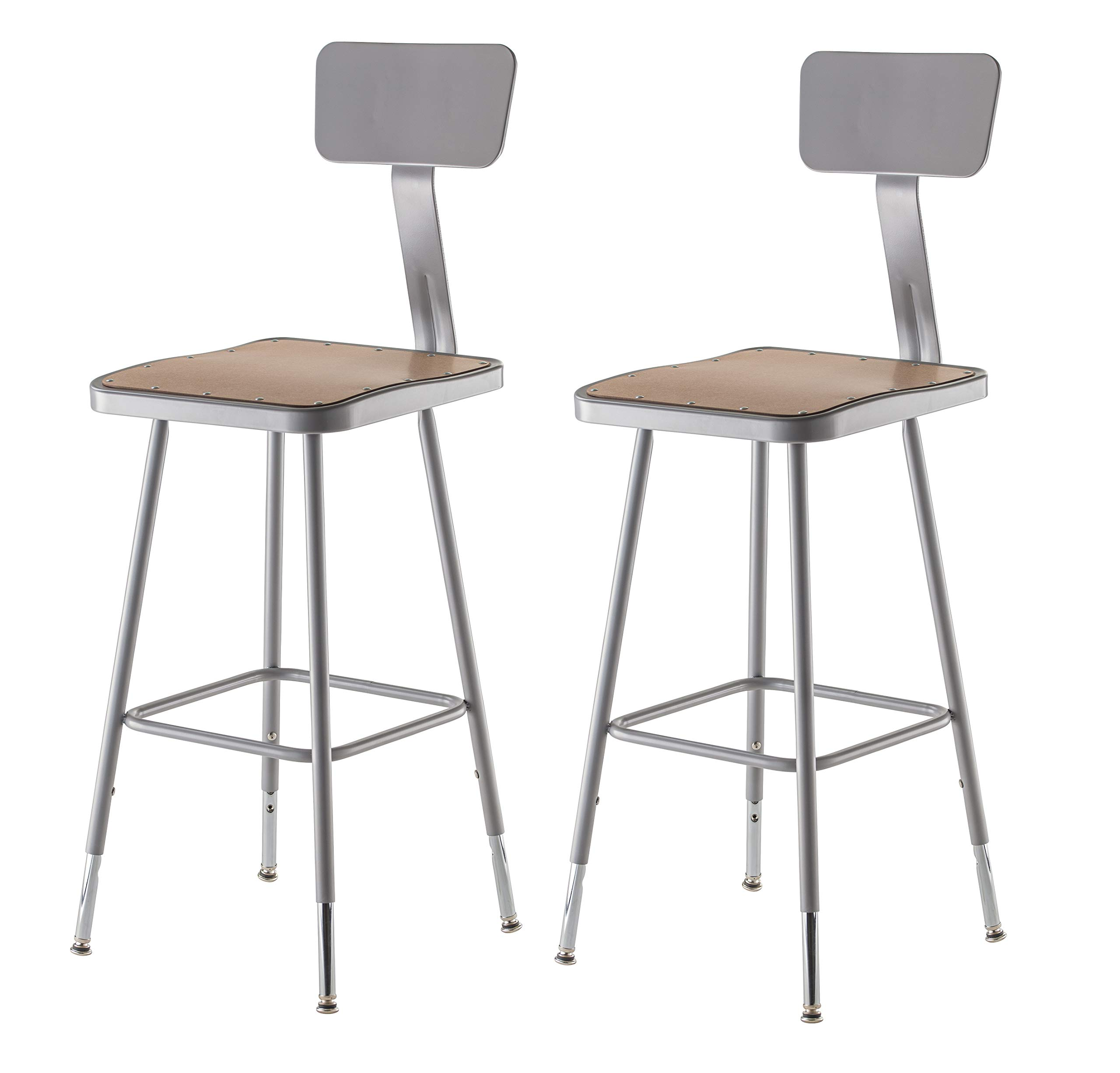 National Public Seating 6324HB-CN Steel Stool with Square Hardboard Seat Adjustable and Backrest, 25''-33'', Grey (Pack of 2)