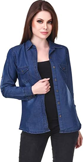 c37ca34fe471dd Image Unavailable. Image not available for. Colour: Trendy Frog Women Long  Sleeve Monkey Wash Denim Shirt Top, Blue, Medium Size