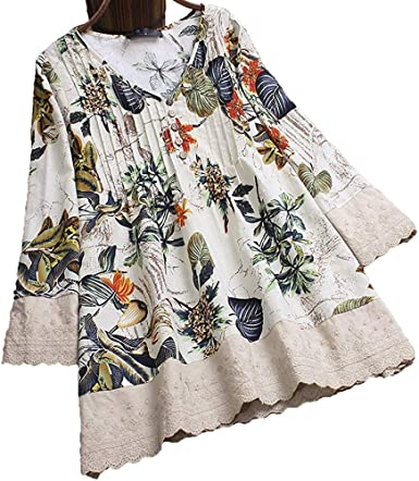 Womens Boho Flower Print Tunic Tops Adjustable Long Sleeve Floral Casual Button V-Neck Shirts Plus Size Blouses M-5XL