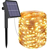 Luces Led Solares Exteriores Jardin, Btfarm Cadena de Luces 32 Metros 320 LED Blanco Cálido, 8 Modos de Luz, Decoración…
