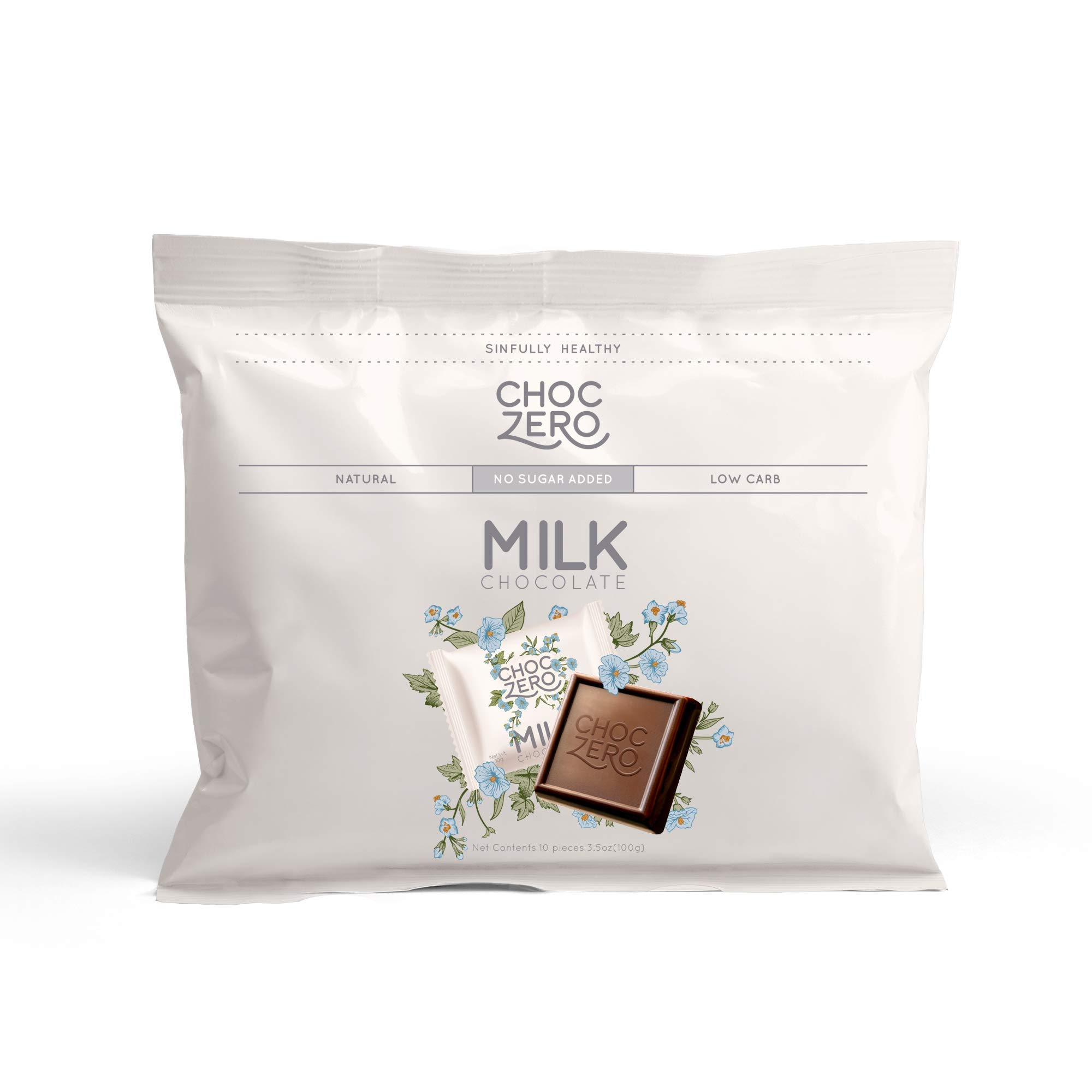 ChocZero Premium Milk Chocolate, 45% Cocoa, No Sugar Added, Low Carb. No Sugar Alcohol, All Natural, Non-GMO - (6 Bags, 60 Pieces)