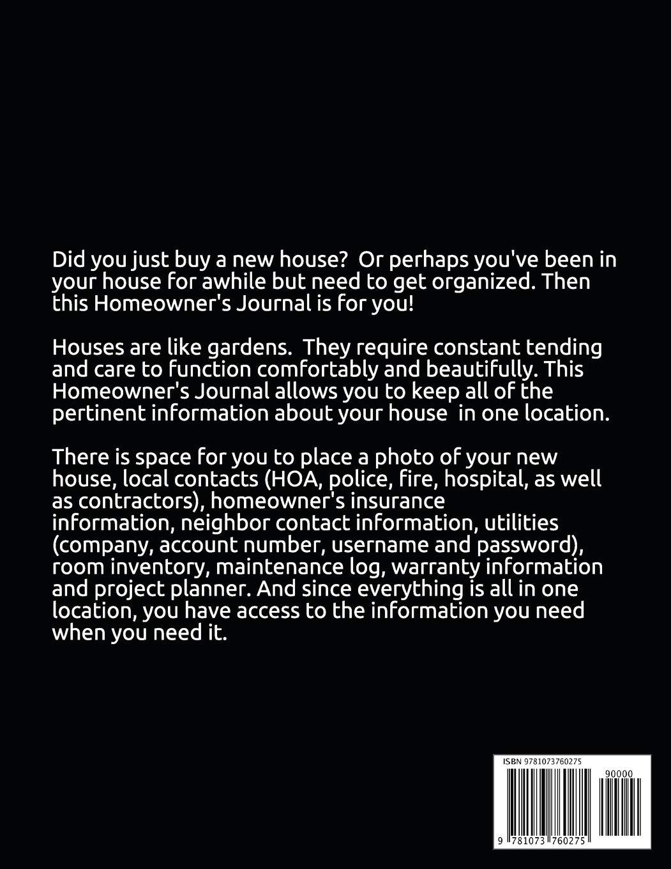 Homeowner's Journal: Essential House Info, Maintenance/Warranty Logs