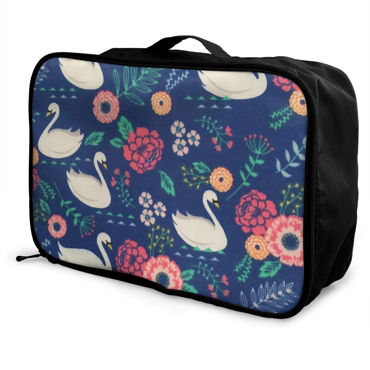 Travel Luggage Duffle Bag Lightweight Portable Handbag Swan Print Large Capacity Waterproof Foldable Storage Tote