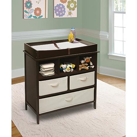 perezoso Kids – Cómoda para la habitación cambiador Color Marrón Oscuro de color blanco con elementos de tela