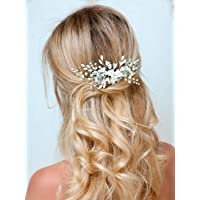 Barogirl Wedding White Flower Hair Comb Clip Crystal Bride Hair Piece Bridal Hair Accessories for Women