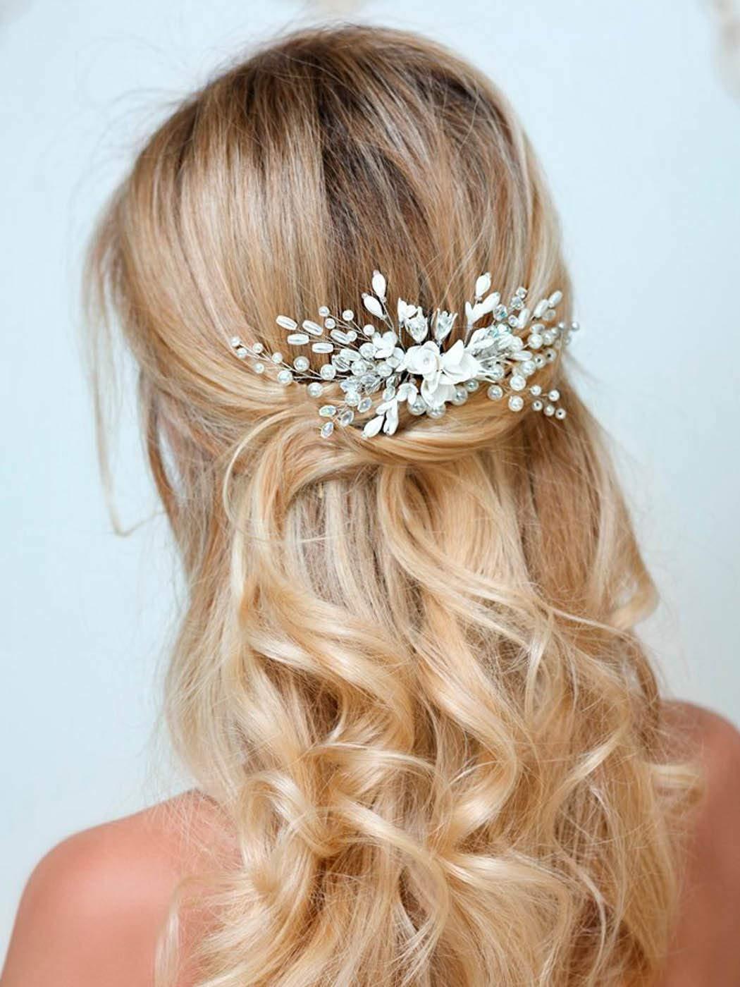 Barogirl Wedding White Flower Hair Comb Clip Crystal Bride Hair Piece Bridal Hair Accessories for Women by Barogirl