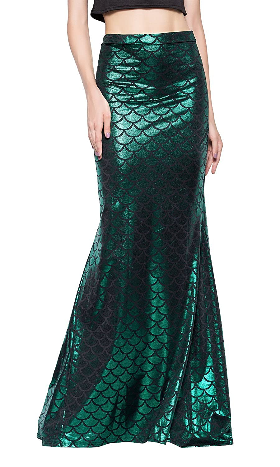 Ladies Long Iridescent Green Fish Scale Print Stretchy Flared Mermaid Skirt - DeluxeAdultCostumes.com